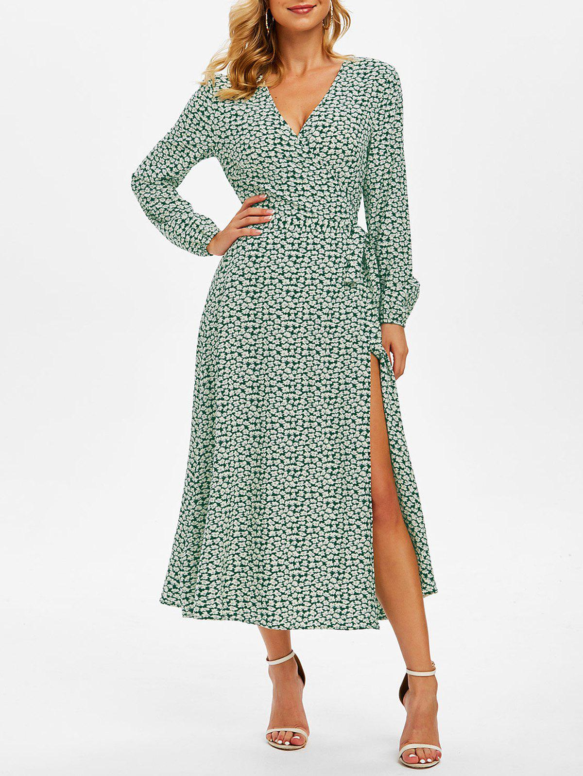 Floral Print Belted Surplice Dress - MEDIUM SEA GREEN 3XL
