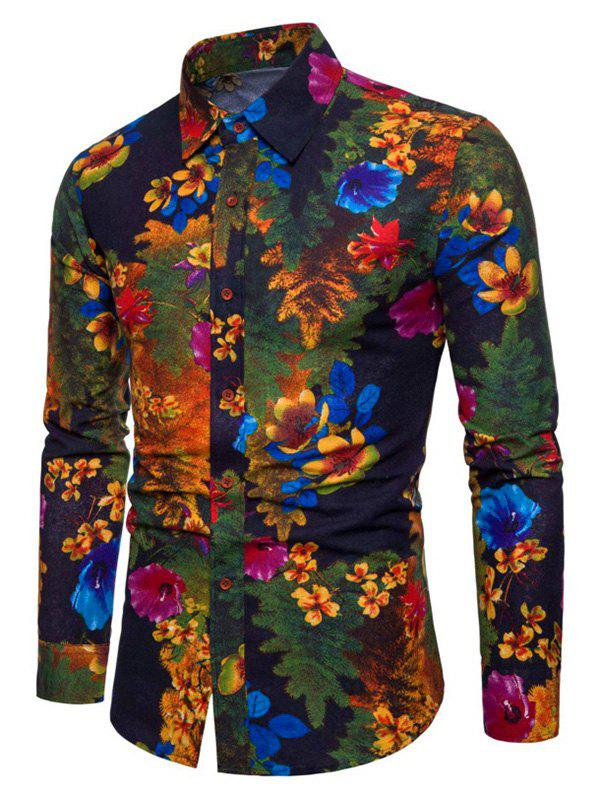 Floral Tree Print Button Up Lounge Shirt - multicolor L