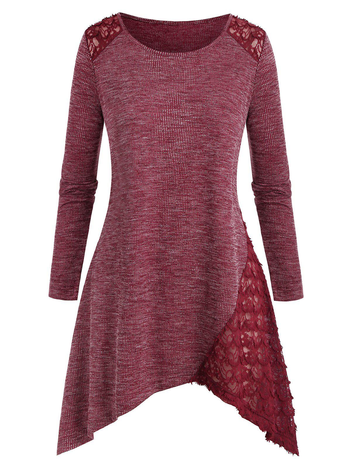 Plus Size Lace Insert Asymmetric Heathered Knitwear - RED WINE 5X
