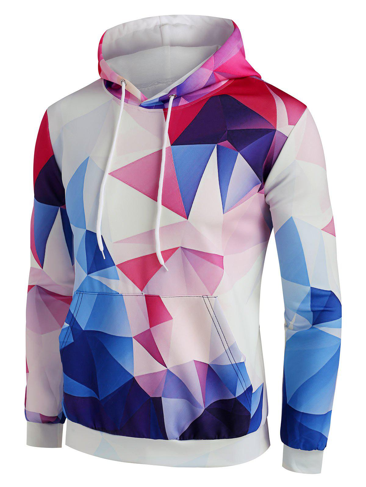 Colorful Diamond Geo Print Front Pocket Hoodie - LIGHT COFFEE M