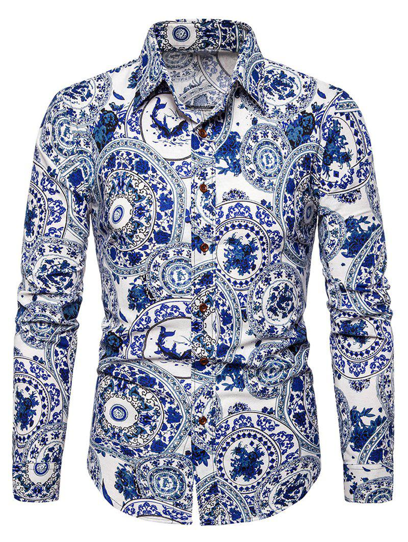 Chinese Porcelain Plate Print Retro Long Sleeve Shirt - COBALT BLUE XL