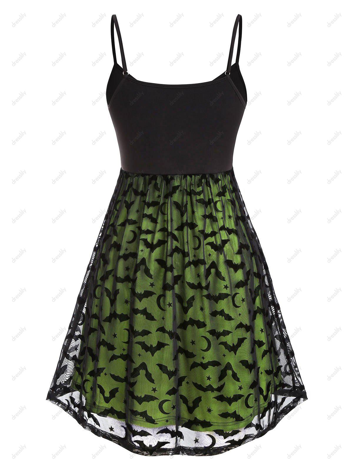 Plus Size Halloween Bat Mesh Insert Neon Dress - GREEN L