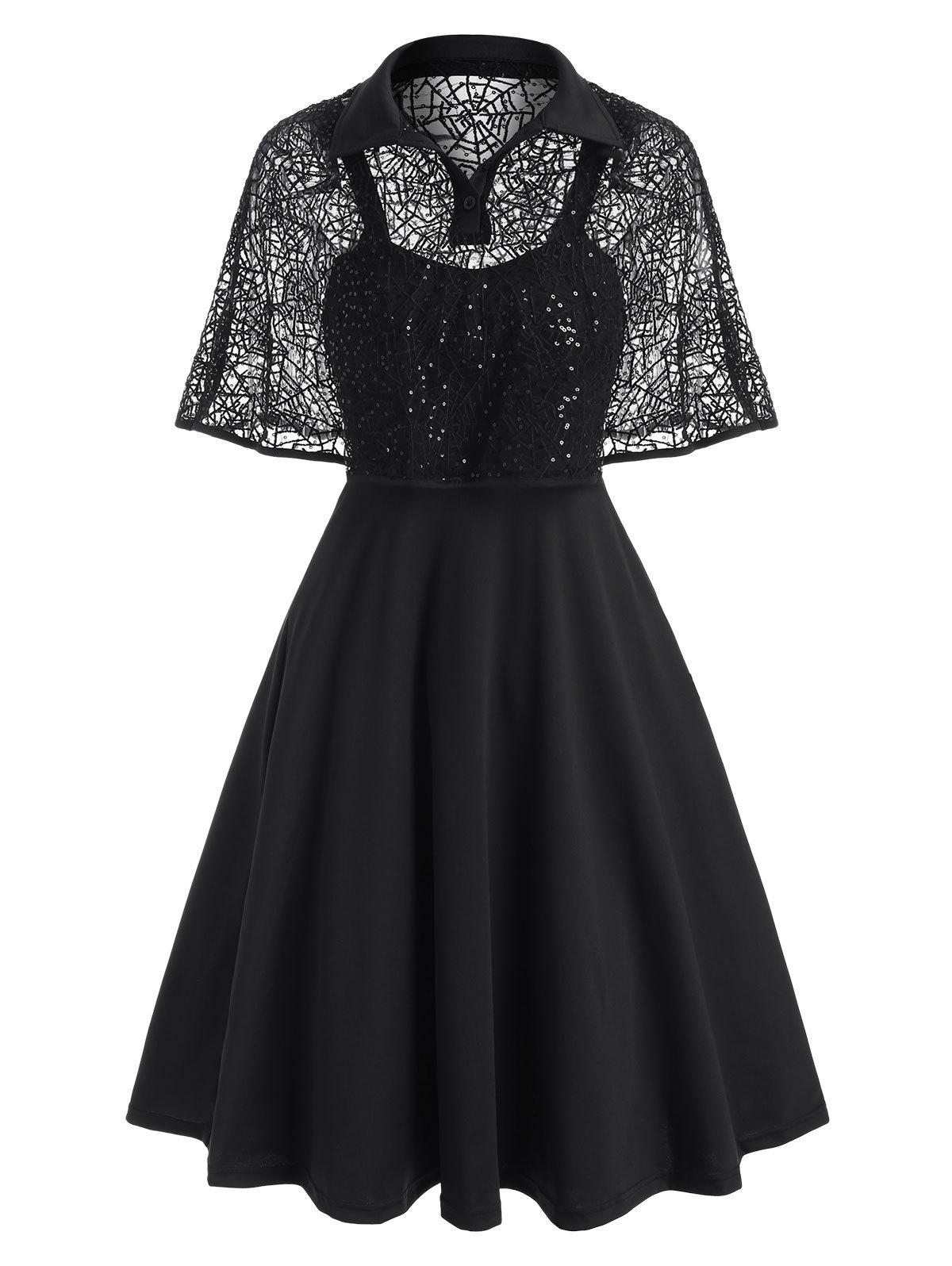 Halloween Spider Web Lace Sequined Cape Dress - BLACK 2XL