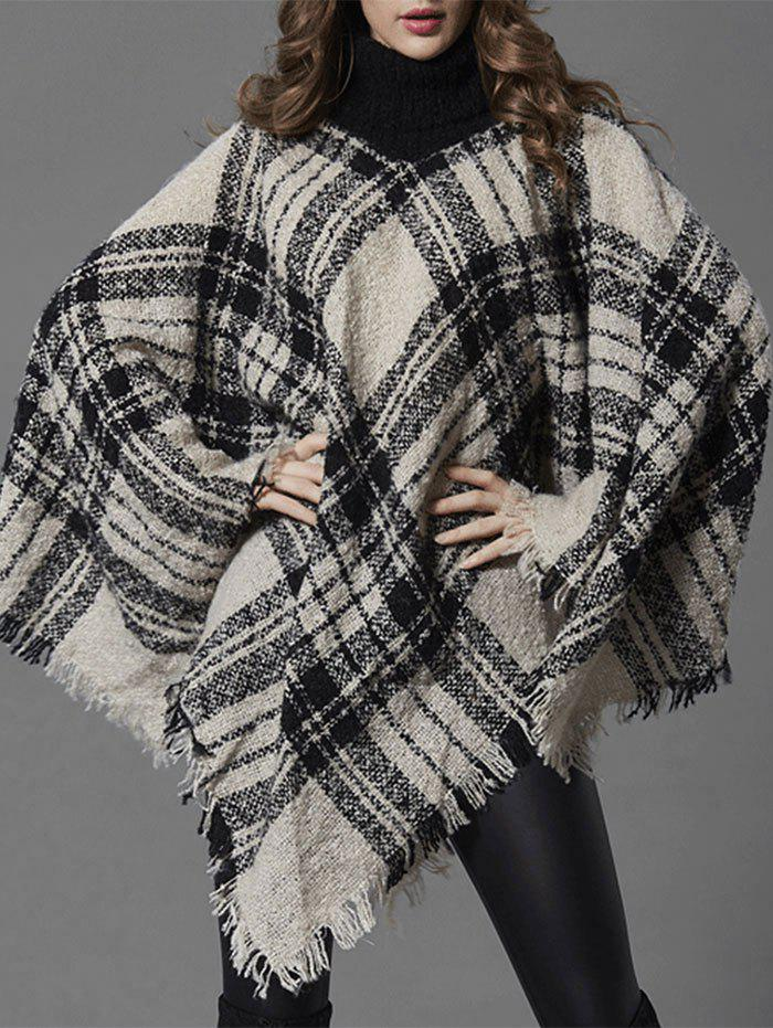 Turtleneck Checked Poncho Sweater - WHITE ONE SIZE