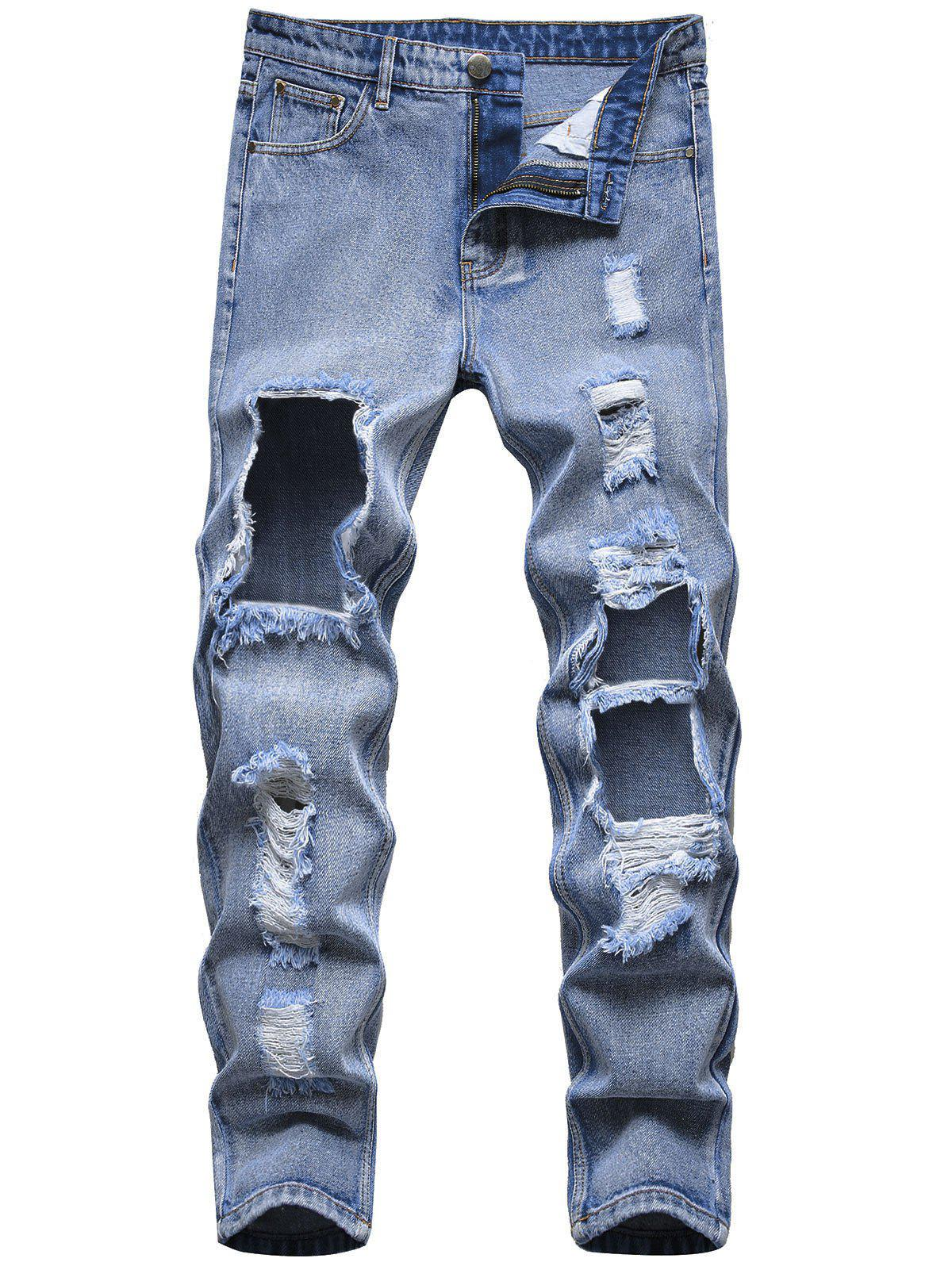 Cut Out Destroyed Tapered Jeans - LIGHT BLUE 38