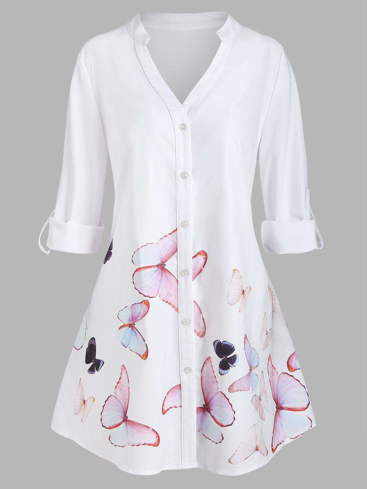 Plus Size Roll Up Sleeve Butterfly Print High Low Shirt - WHITE 5X