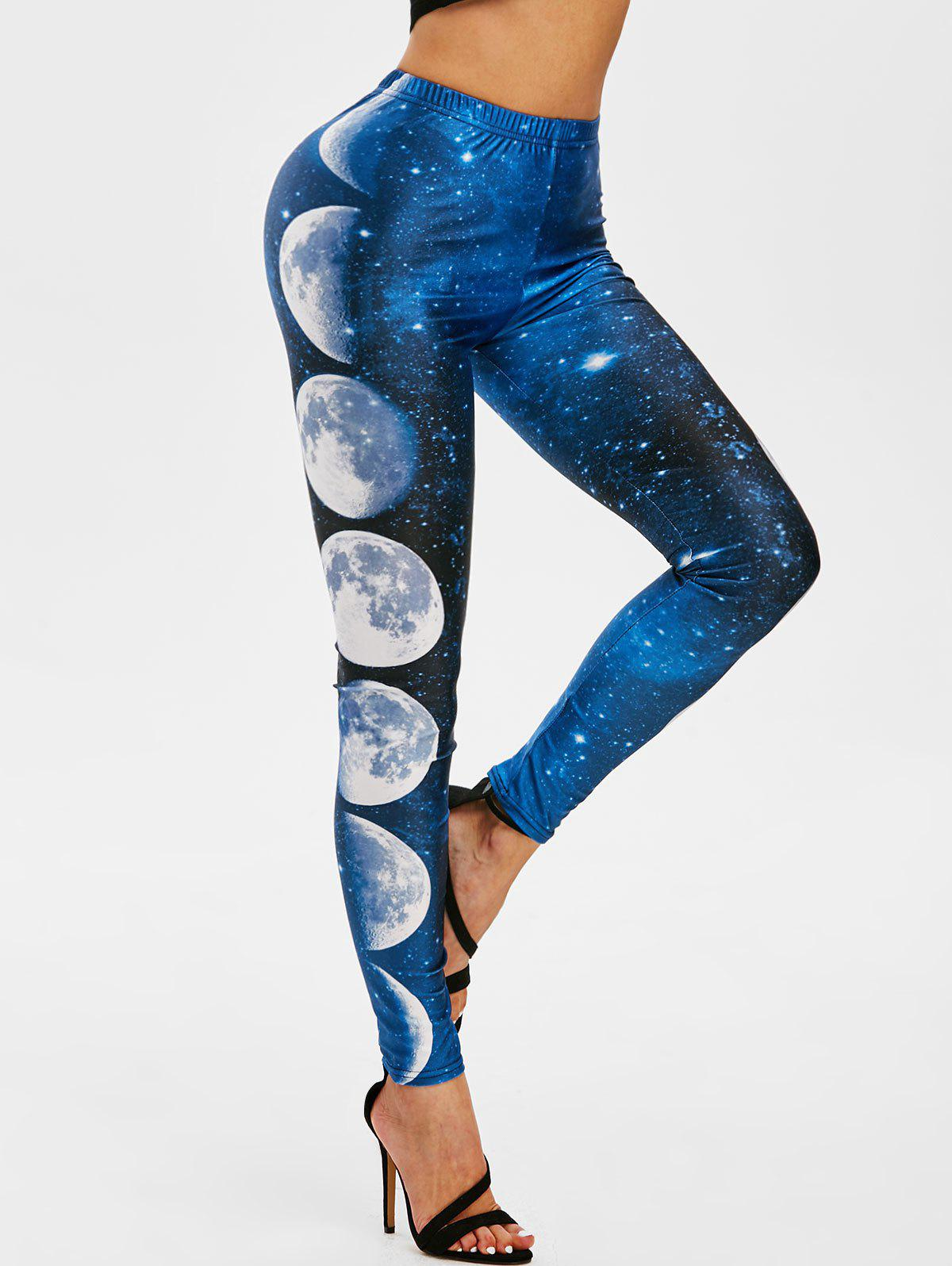 Lunar Eclipse Galaxy High Waisted Leggings - multicolor XL