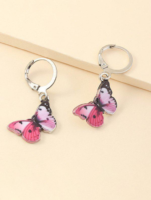 Colored Butterfly Pendant Small Hoop Earrings - HOT PINK