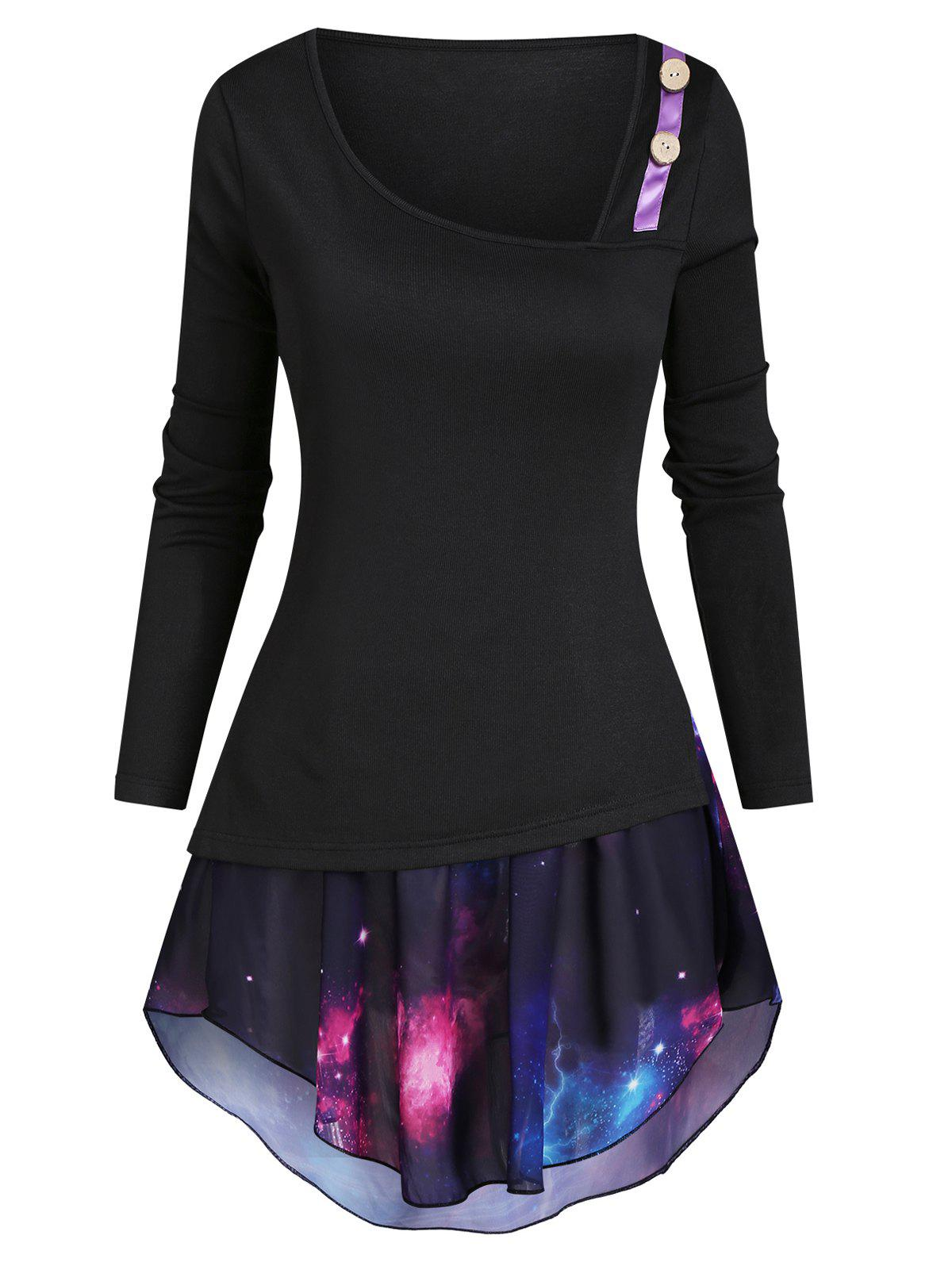 Mock Button Asymmetrical Neck T-shirt with Galaxy Camisole - BLACK 2XL