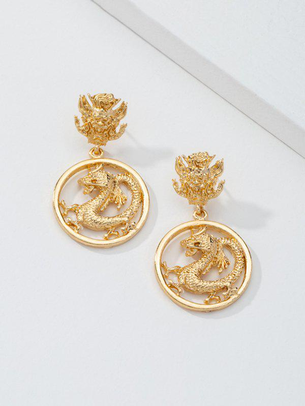 Engraved Dragon Round Drop Earrings - GOLDEN