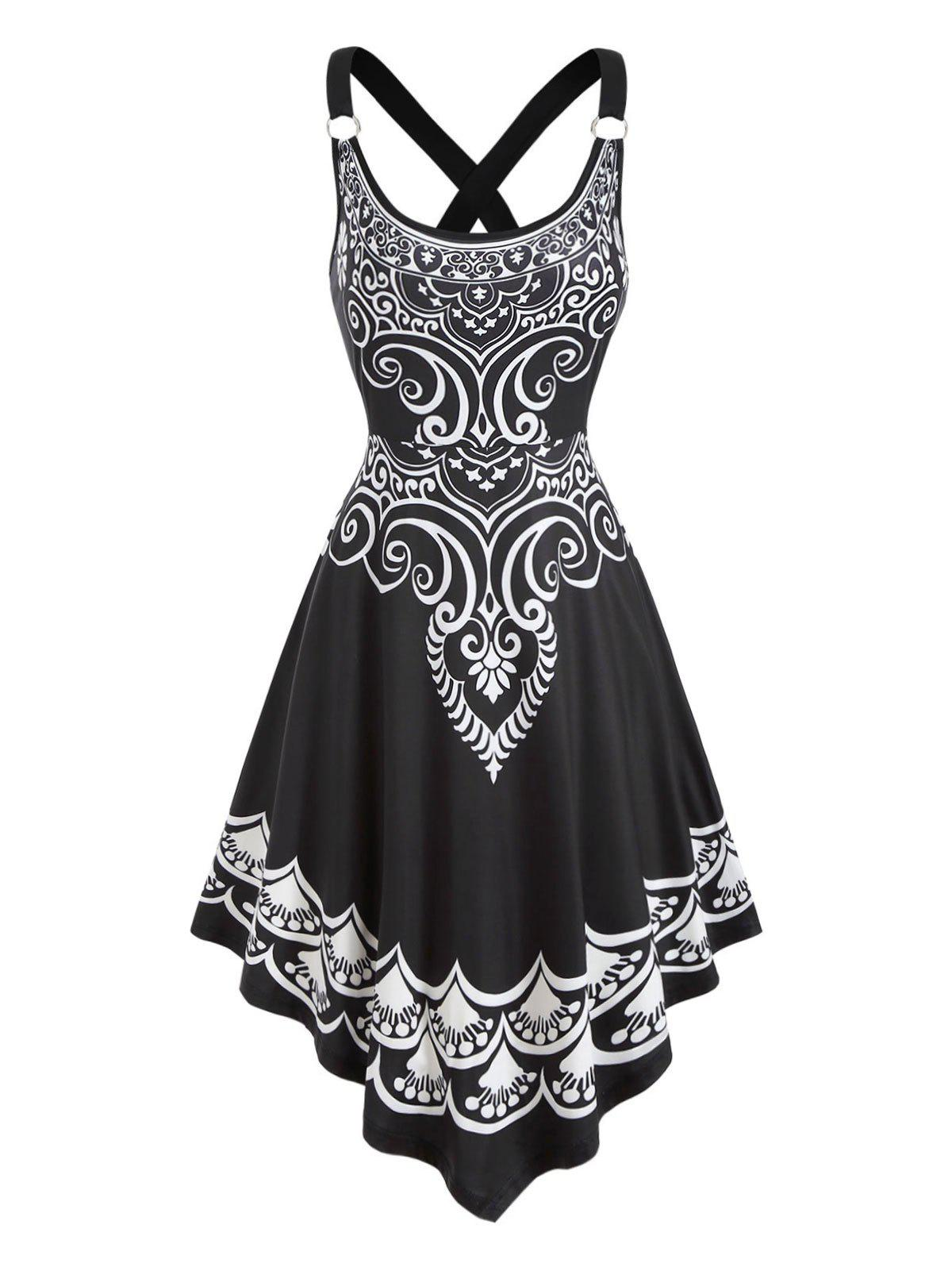 Printed Cross Back Asymmetrical Cami Dress - BLACK XL