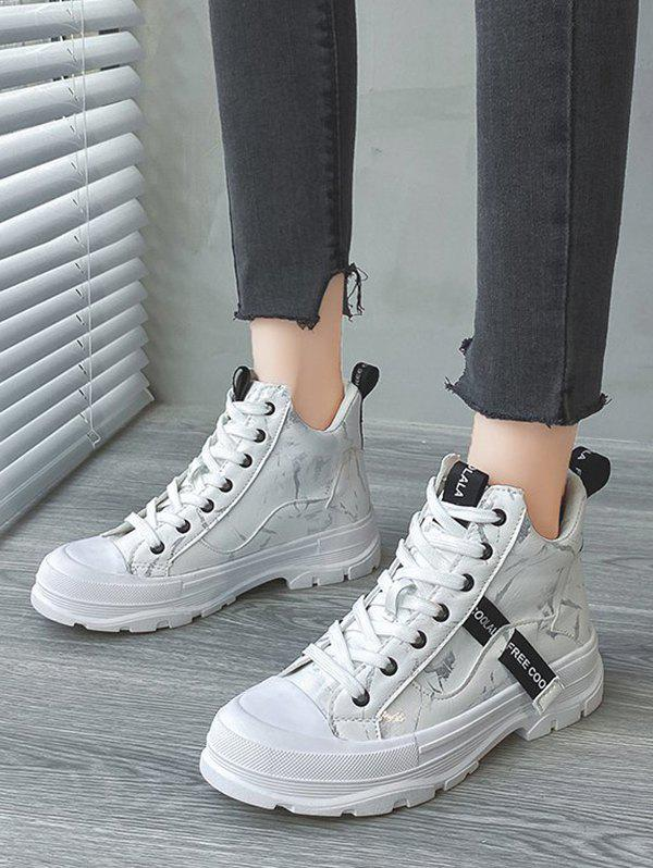 Lace Up Camouflage Letter Pattern Sports Boots - WHITE EU 38