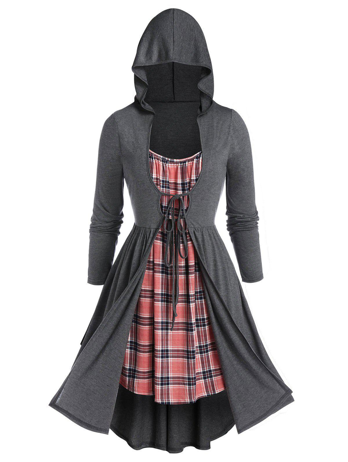 Plus Size Plaid Hooded Twofer Long Sleeve Dress - CARBON GRAY 5X