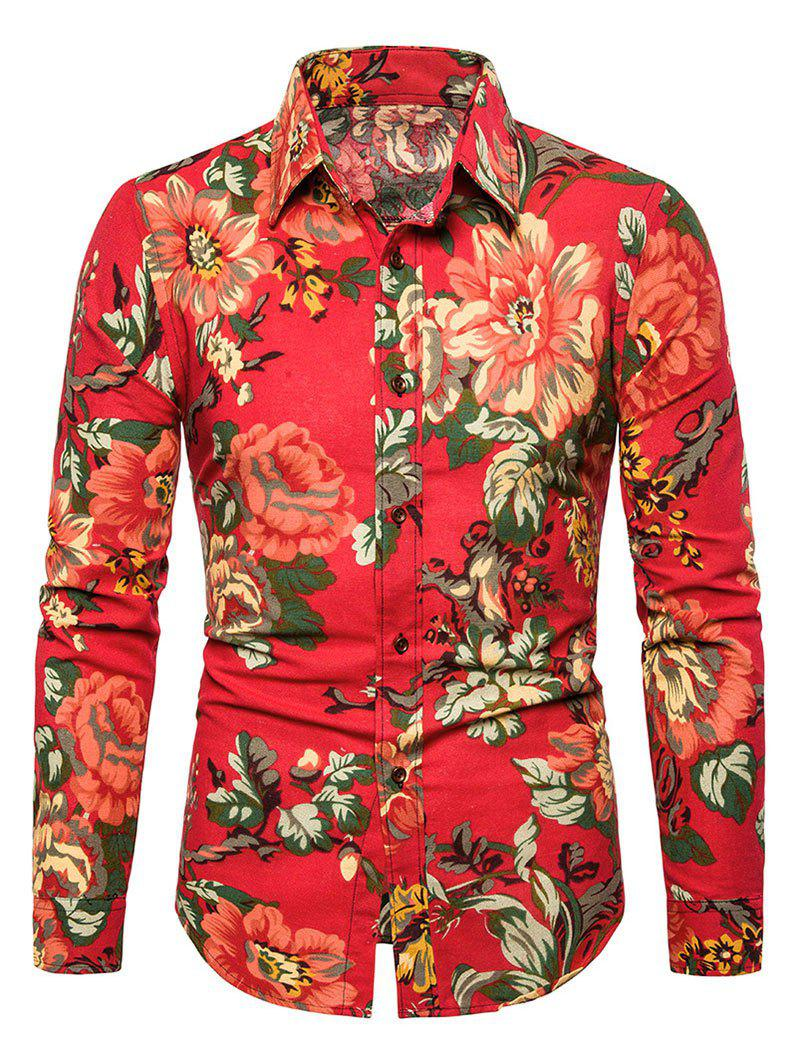 Casual Peony Flower Print Button Up Shirt - RUBY RED S