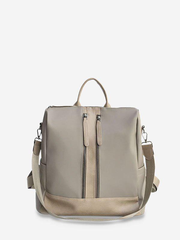 Large Capacity Multifunctional Leather Backpack - LIGHT COFFEE
