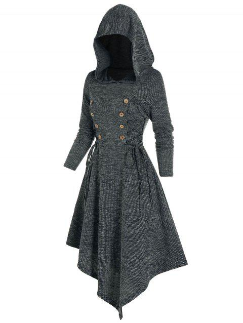 Lace Up Hooded Asymmetrical Knitted Dress
