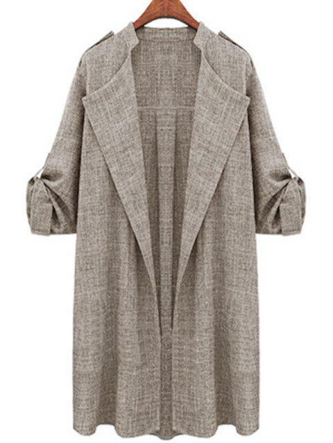 Plus Size Roll Up Sleeve Open Front Coat
