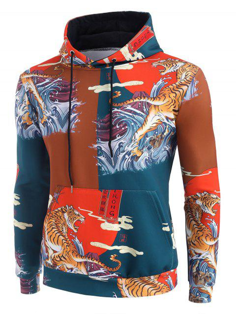 Sea Waves Tiger Graphic Print China Style Hoodie