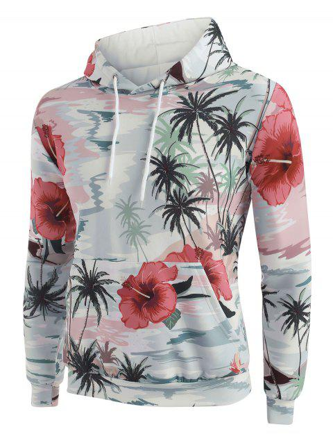 Palm Tree Flower Print Front Pocket Hoodie