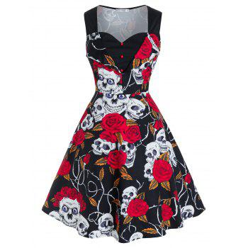 Plus Size Halloween Skull Flower Fit and Flare Retro Dress