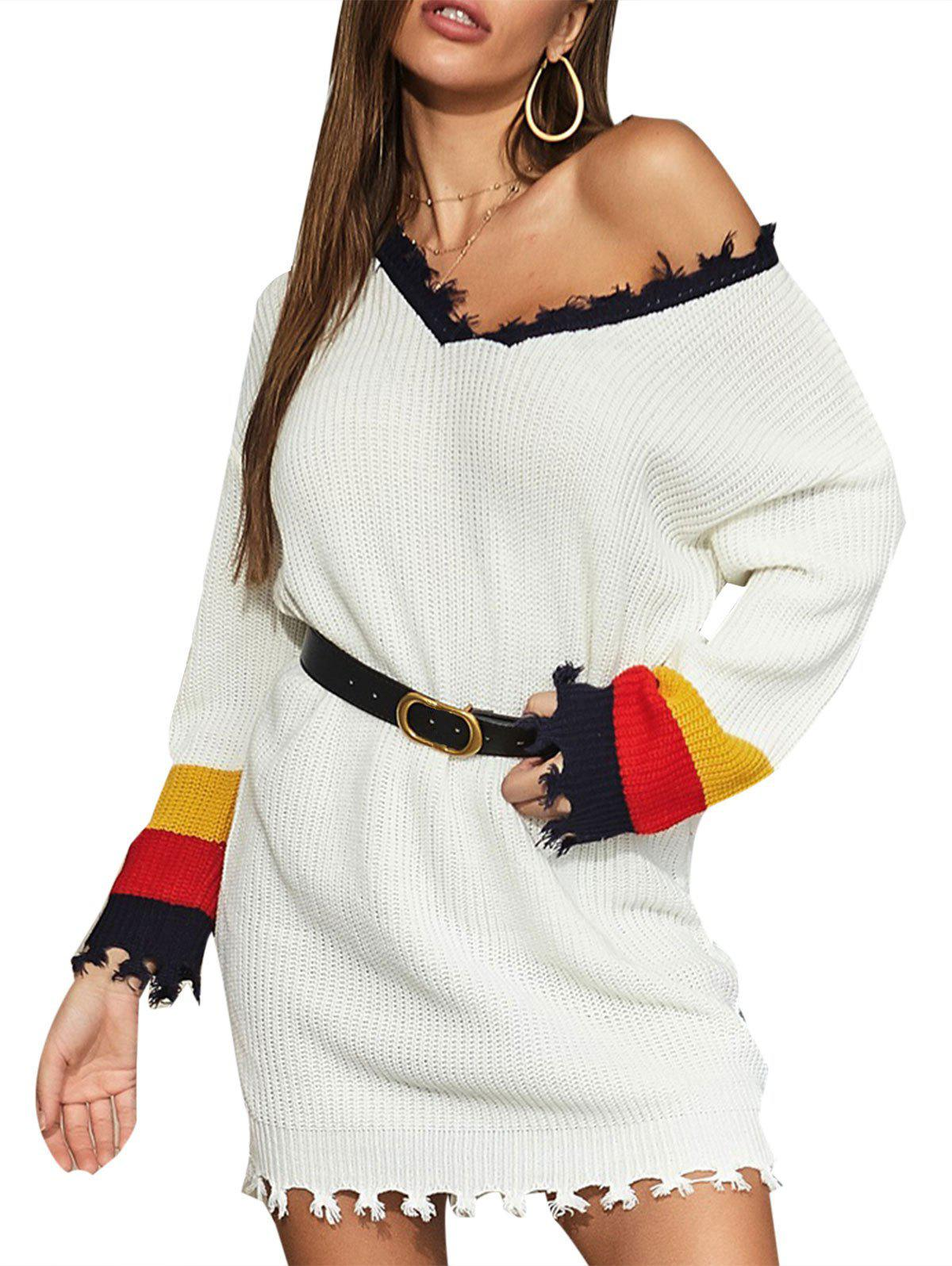 Frayed Trim Color Blocking Tunic Sweater Dress - WHITE S