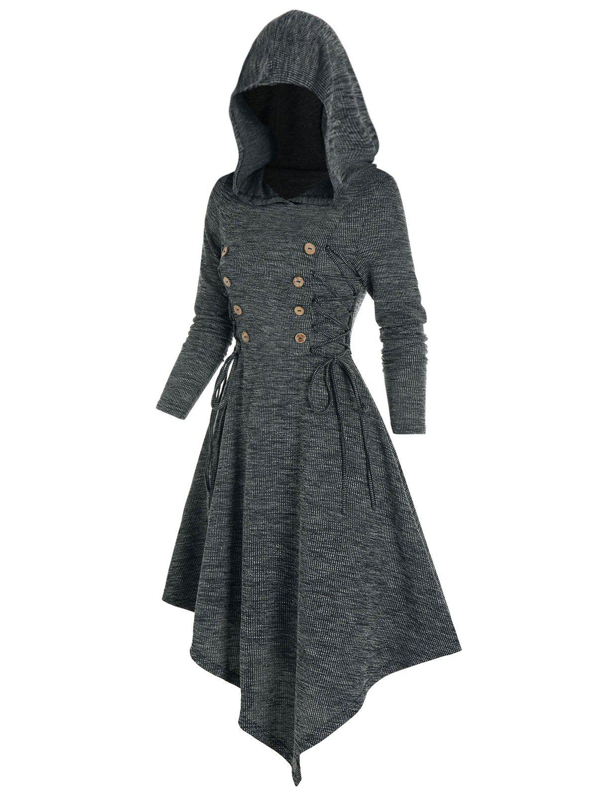 Lace Up Hooded Asymmetrical Knitted Dress - ASH GRAY L