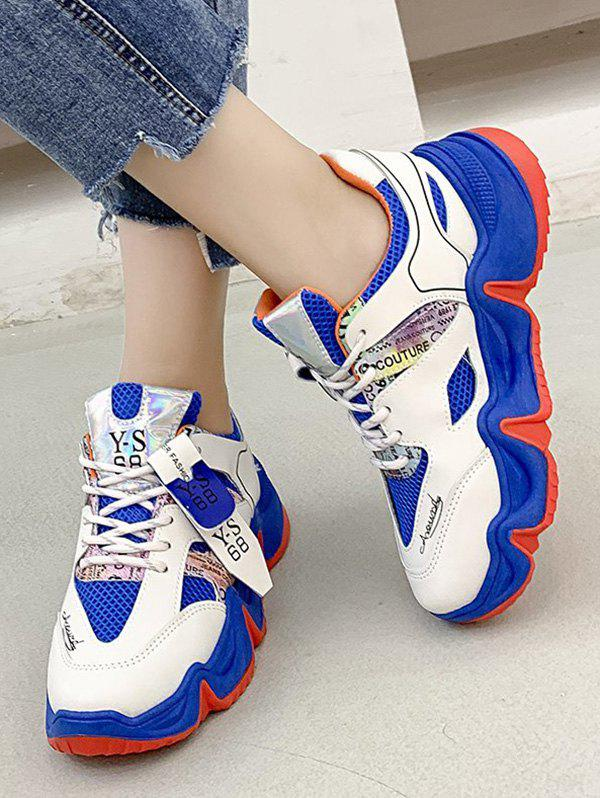 Letter Print Colorblock Breathable Mesh Running Sneakers - BLUEBERRY BLUE EU 41