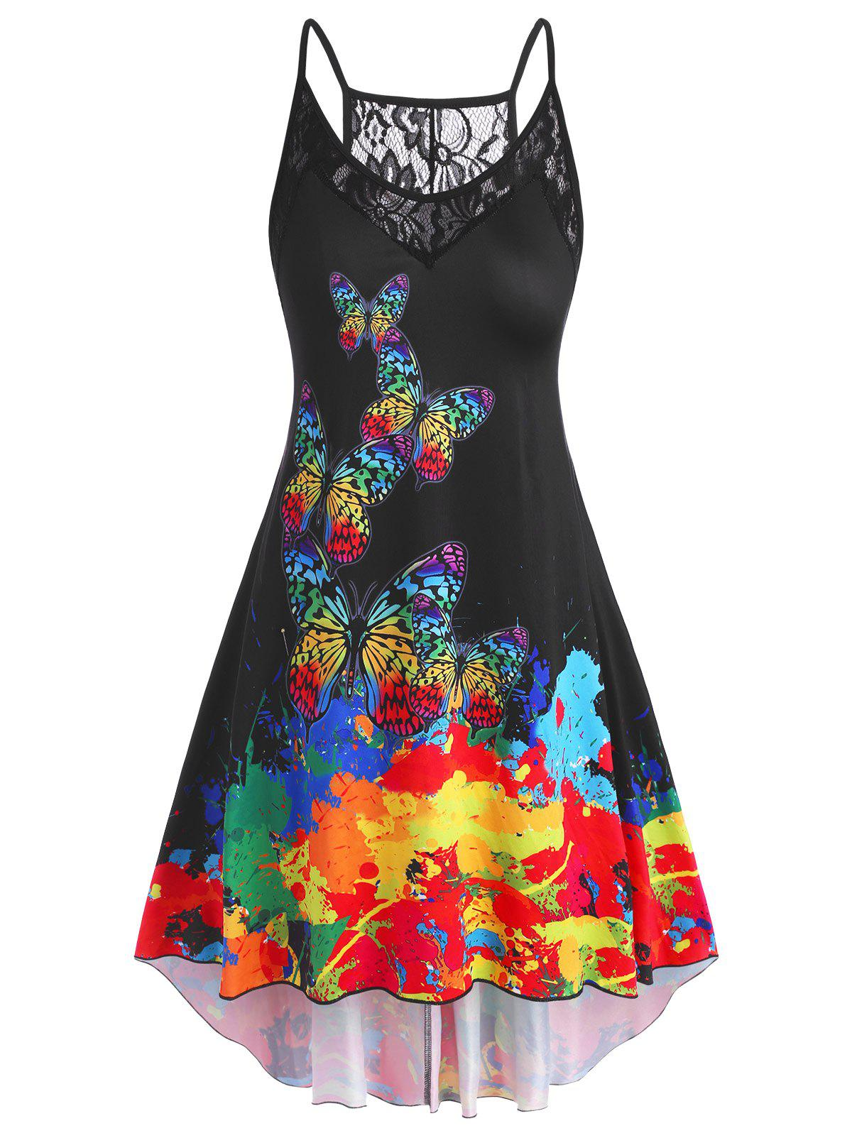 Butterfly Lace Panel High Low Plus Size Dress - BLACK 1X