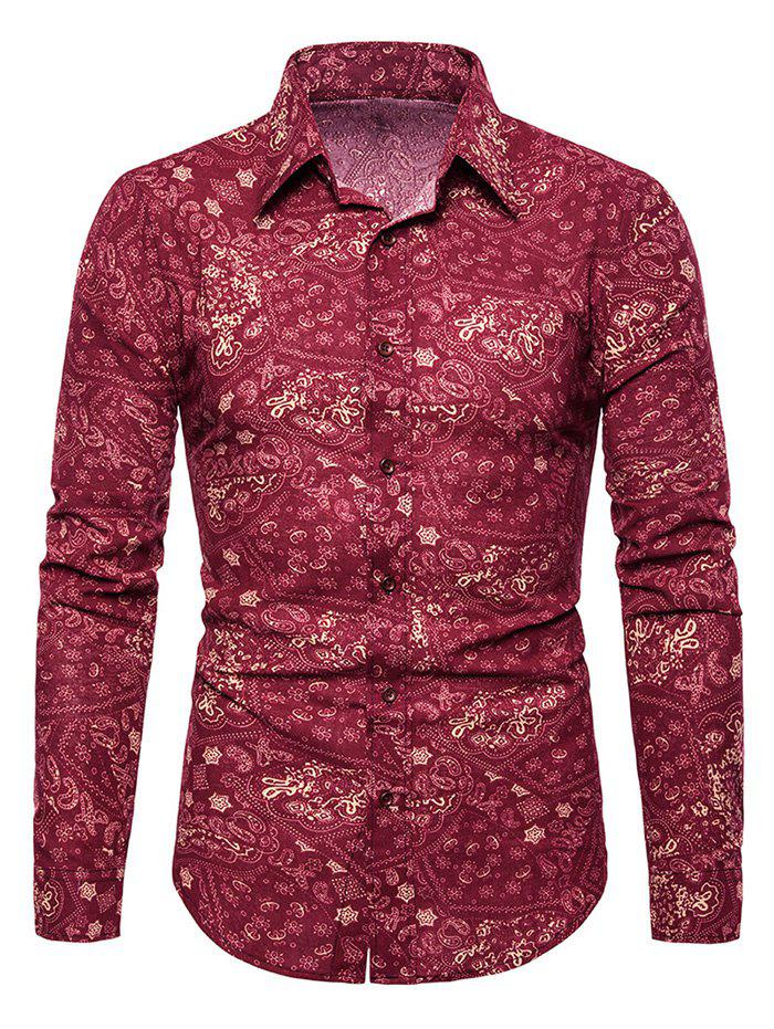 Tiny Flower Paisley Print Button Up Casual Shirt - RED XS