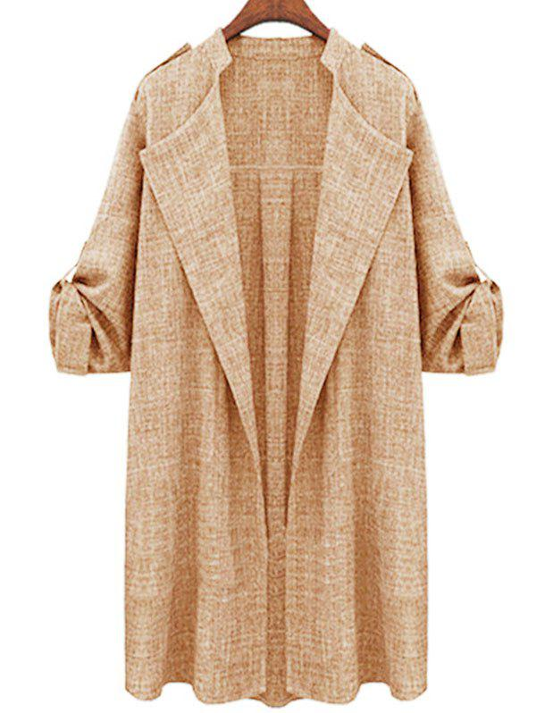 Plus Size Roll Up Sleeve Open Front Coat - LIGHT COFFEE XL