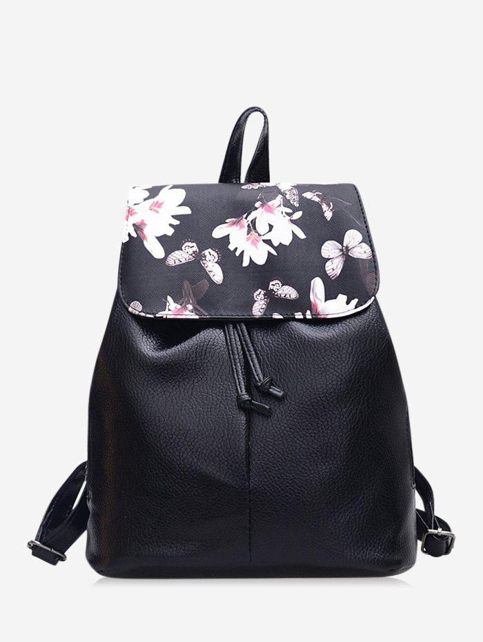 Floral Butterfly Print Drawstring Leather Backpack - BLACK