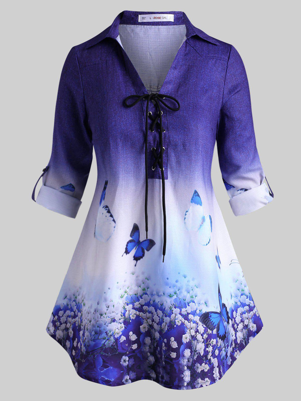 Lace Up Floral Butterfly Tab Sleeve Plus Size Top - BLUE 1X