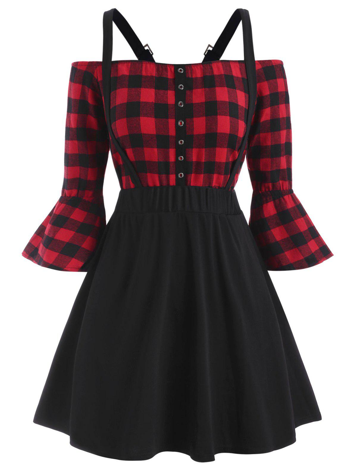 Plus Size Off Shoulder Plaid Top And Suspender Skirt Set - RED 1X