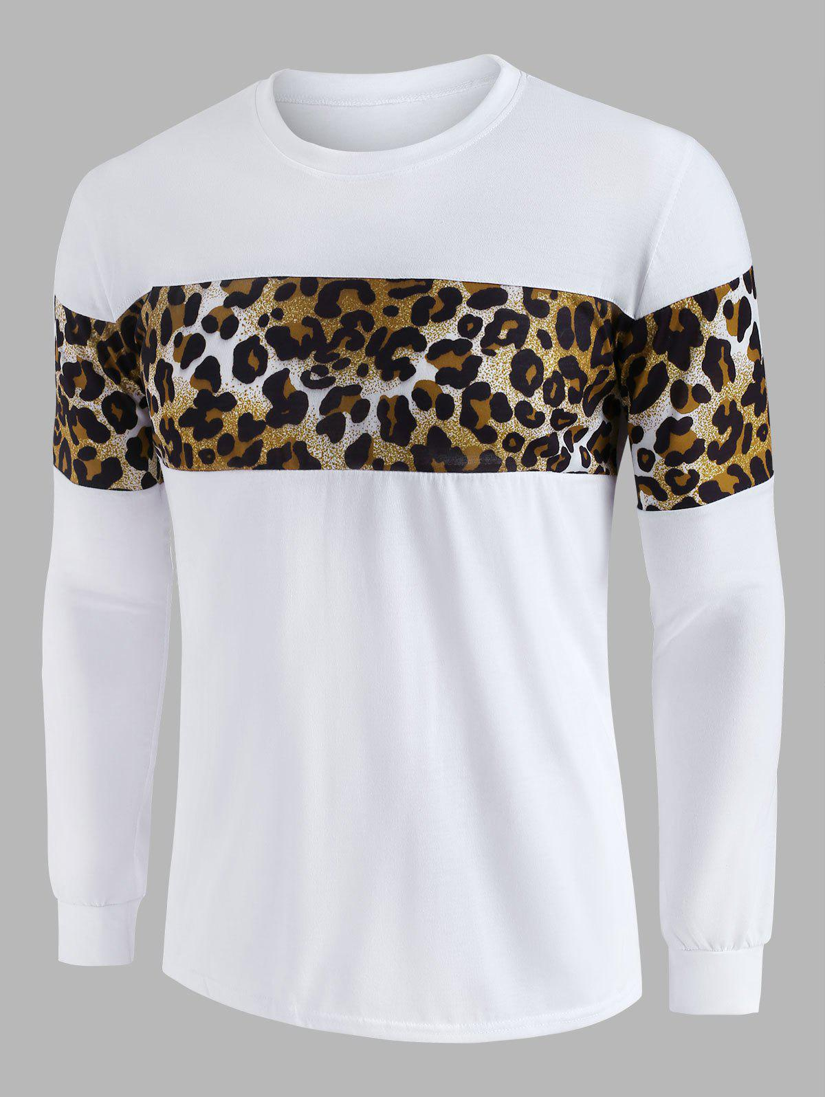Leopard Panel Crew Neck Lounge Sweatshirt - WHITE M