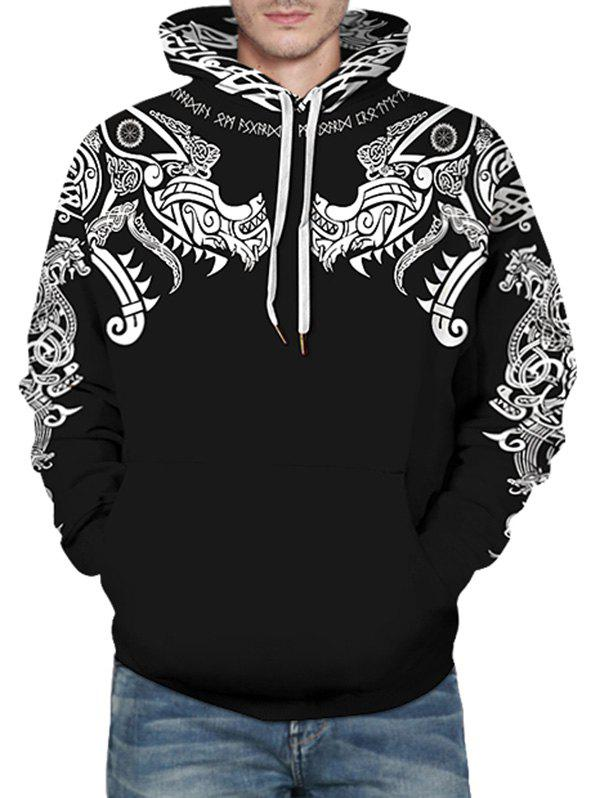 Dragon and Elephant Tribal Pattern Hoodie - BLACK L