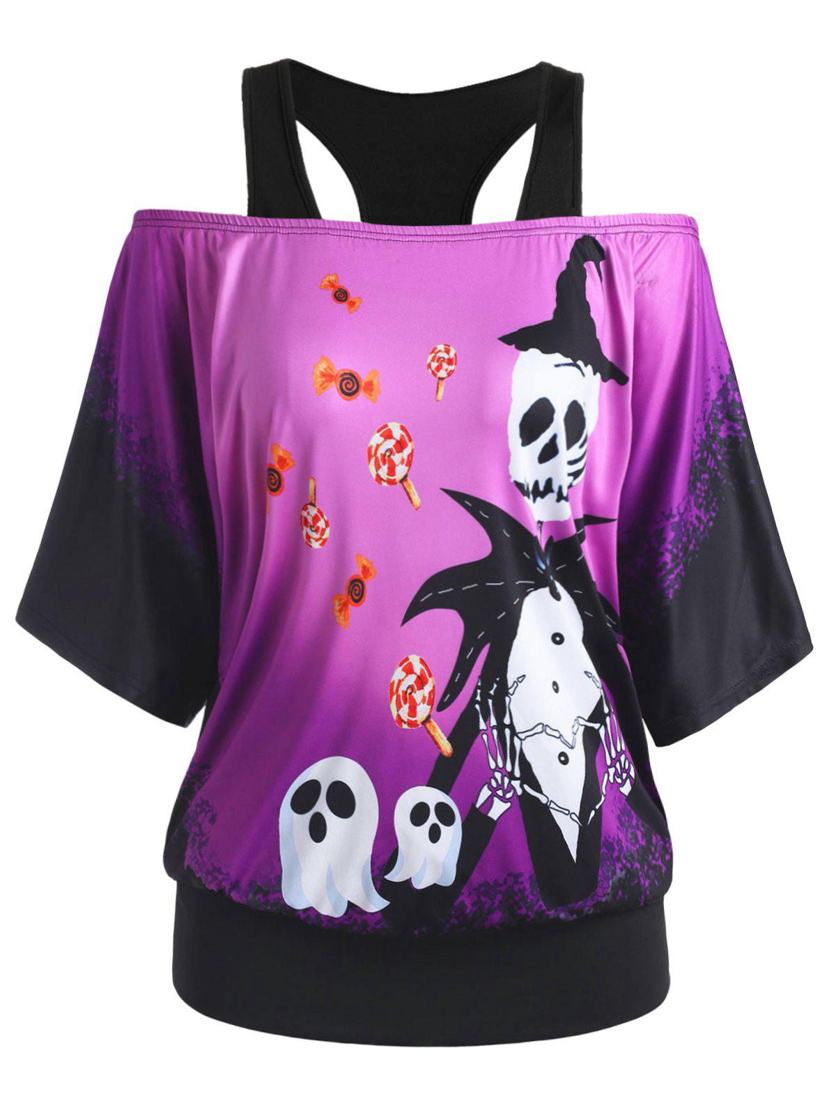 Skull Ghost Candy Print Open Shoulder Halloween Plus Size Top - PURPLE 3X