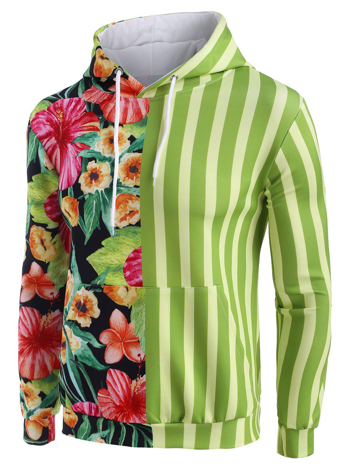Flower Contrast Striped Pattern Casual Hoodie - YELLOW GREEN L