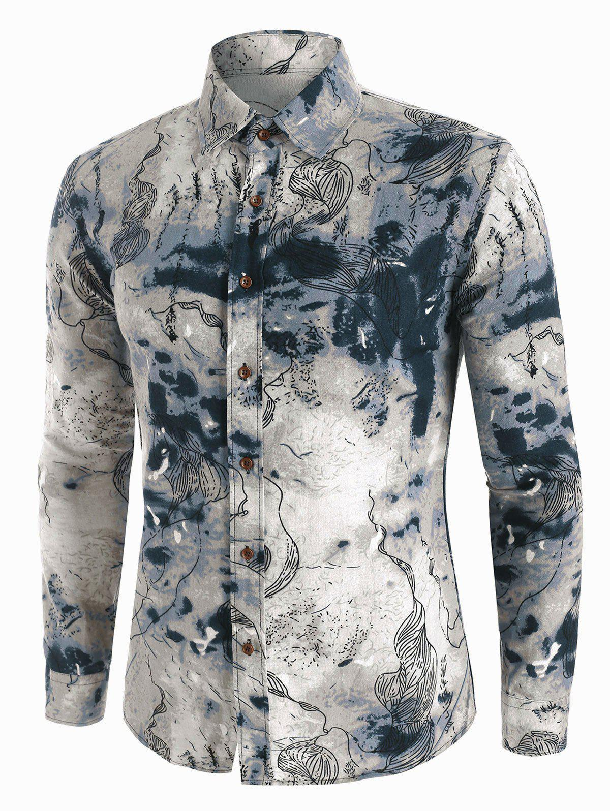 Abstract Landscape Paint Pattern Vintage Long Sleeve Shirt - multicolor L