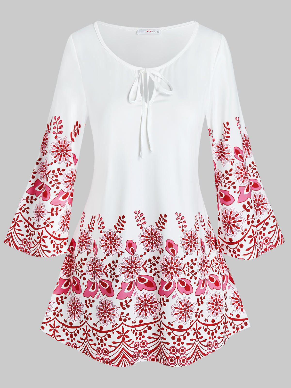 Plus Size Keyhole Tie Flower Patterned Tee - WHITE 3X