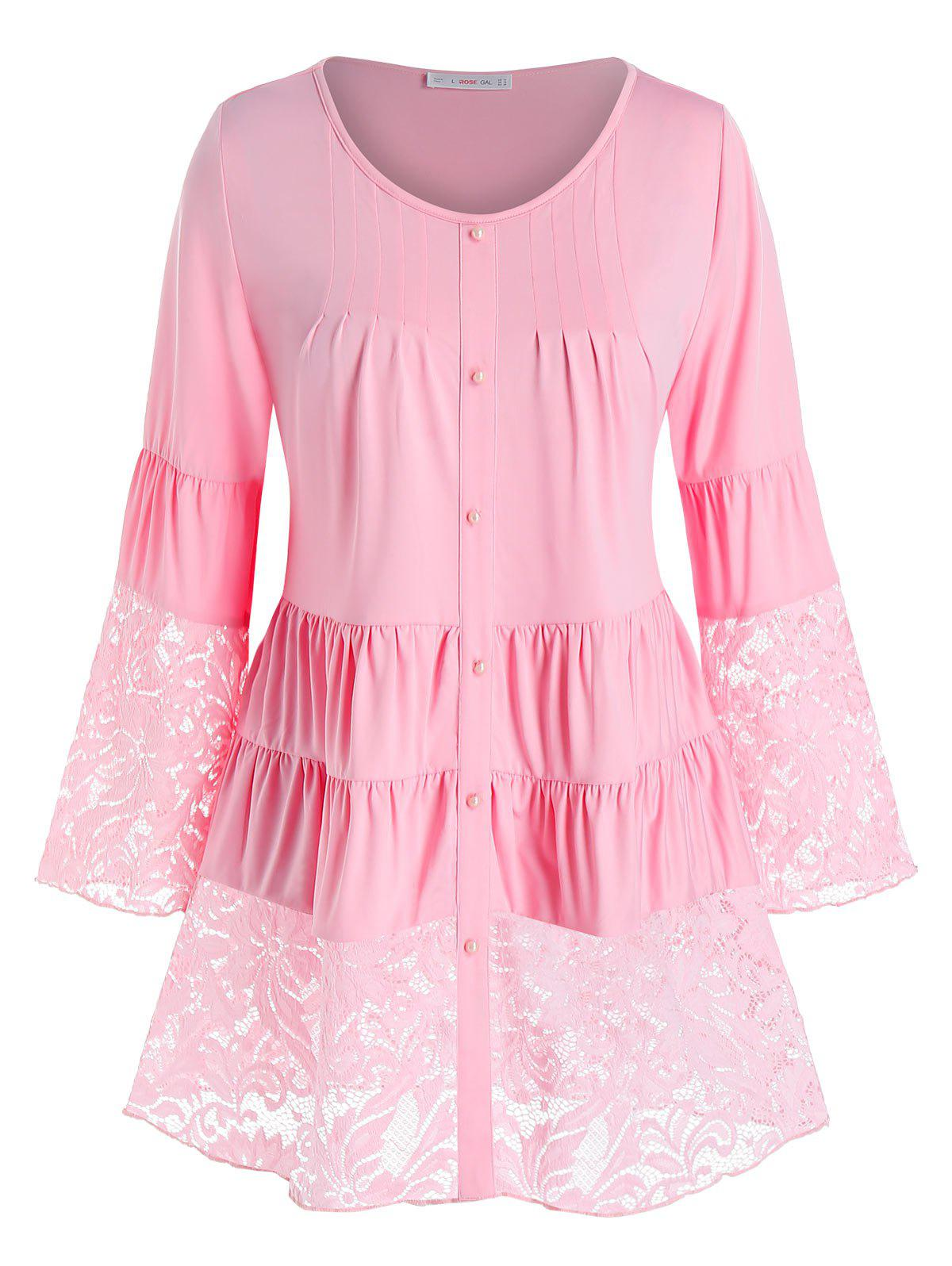 Plus Size Lace Insert Ruched Tiered Tunic Blouse - LIGHT PINK 5X