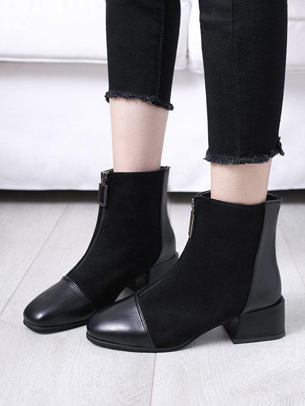 Patchwork Square Toe Chunky Heel Ankle Boots - BLACK EU 38