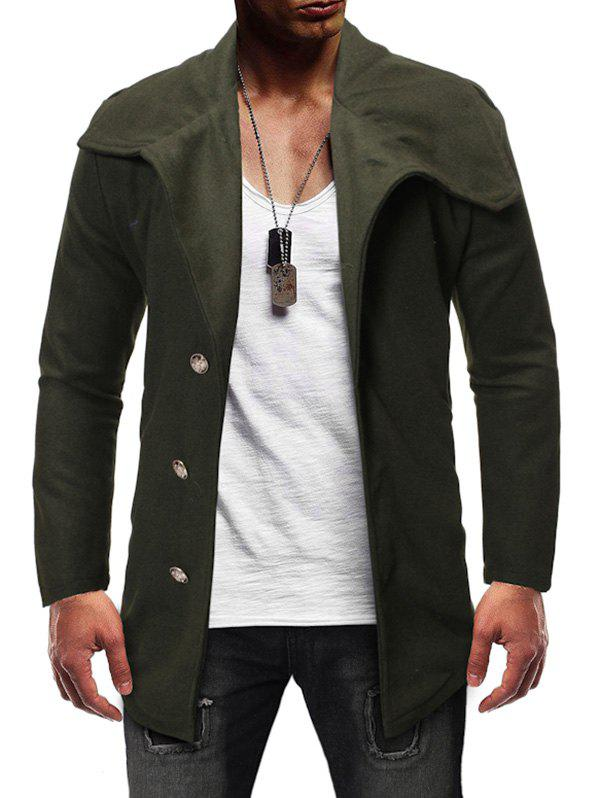 Single Breasted Zipper Detail Wool Blend Coat - ARMY GREEN L