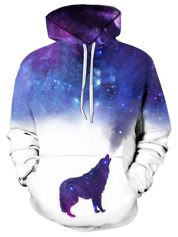 Casual Wolf Starry Pattern Front Pocket Hoodie - multicolor L
