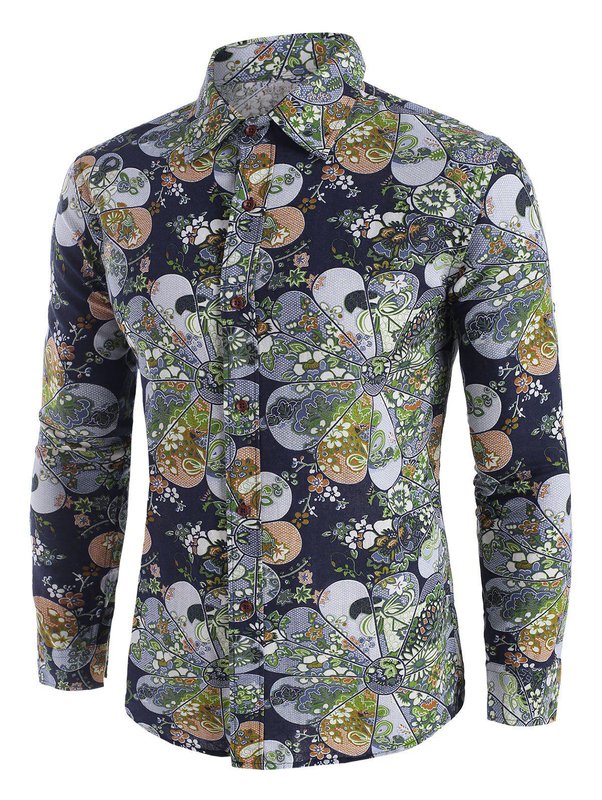 Ditsy Floral Pattern Long Sleeve Casual Shirt - multicolor XS