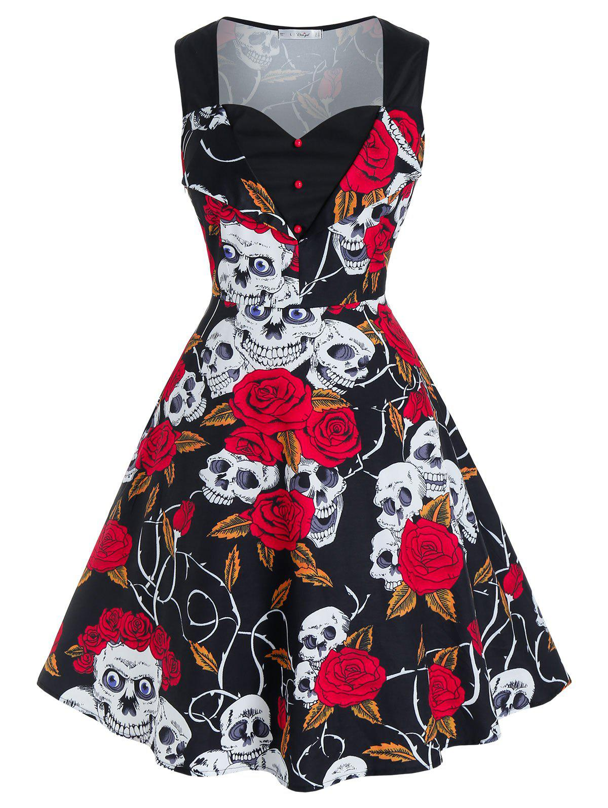 Plus Size Halloween Skull Flower Fit and Flare Retro Dress - BLACK 2X