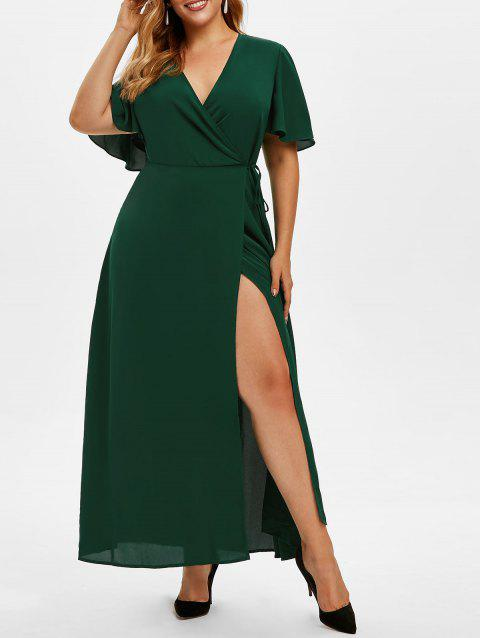 Plus Size Low Cut High Slit Maxi Dress