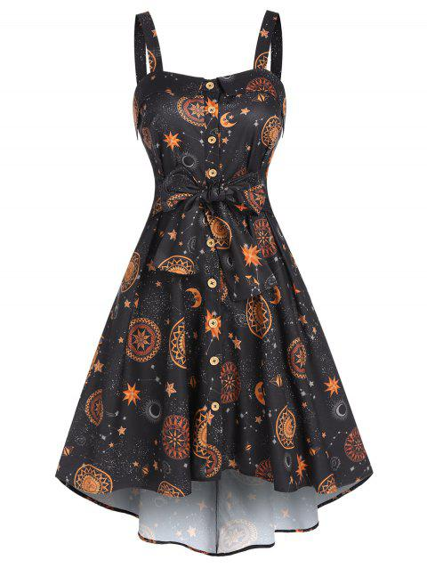 Sun Moon Star Print Pockets Cami High Low Dress