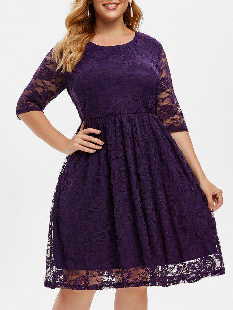 Lined Lace A Line Plus Size Dress