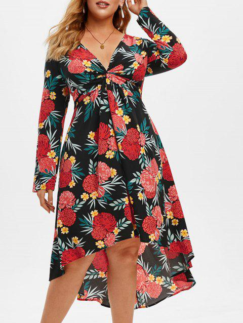 Plus Size Flower Leaf Printed Twist Dress