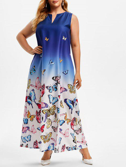 Plus Size Ombre Color Butterfly Print Maxi Dress
